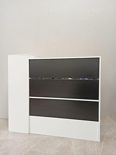 Mesa de Oficina Mostradores para Tiendas o Recepción Mueble Blanco y Negro con Rayas Plateadas