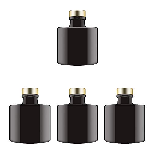 Feel Fragrance Black Glass Diffuser Bottles Round Diffuser Jars with Gold Caps Set of 4