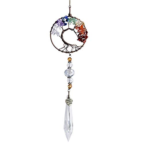Xiangyin Adorno Colgante de Ventana de Cristal, Atrapasol de Vidrio de Cristal, Atrapasol de Ventana Colgante, Árbol en Forma de corazón Hoja Bola de Cristal Colgante de Gota de Prisma, para Ventana