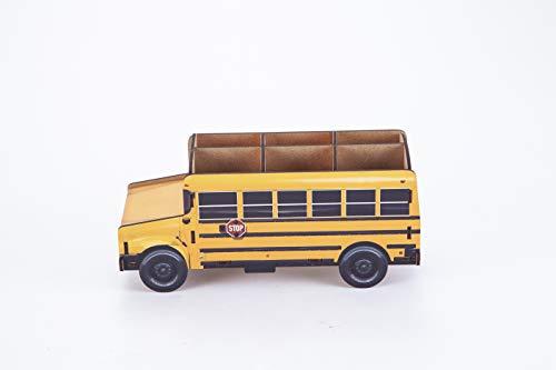 DecentGadget Pen Pot Bus Car Pen Holder Desktop Organizer Pencil Box Stationery (School car)
