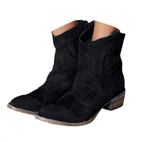 Onsoyours Damen Stiefeletten Mit Absatz Cowgirl Western Biker Boots Chelsea Kurze Damenschuhe Retro Stiefel Kurzschaft Bequem Schuhe 01 Schwarz 39 EU