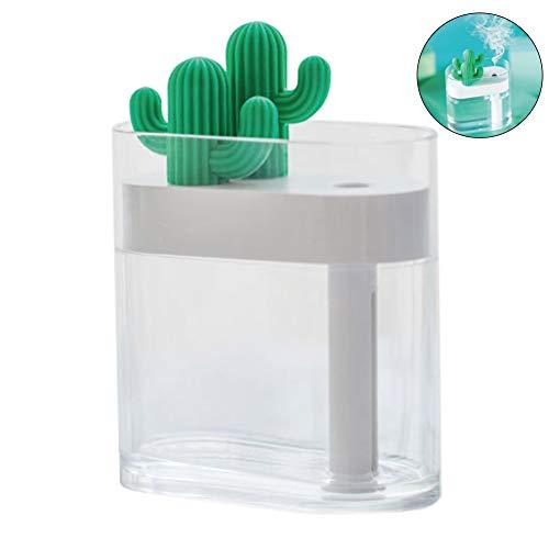 Mallalah Humidificateur Cactus Transparent Lampe à Atmosphère Colorée Mini Diffuseur USB Portatif pour Chambre à Coucher Bébé Maison Yoga Bureau Spa Café Voyage