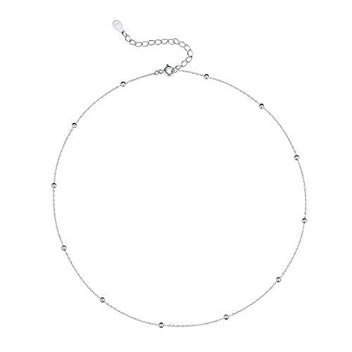 Minimalist Ball Choker S925 Sterling Silver Necklace for Women Teen Girls Satellite Beaded Chain Layering Simple Chokers Adjustable