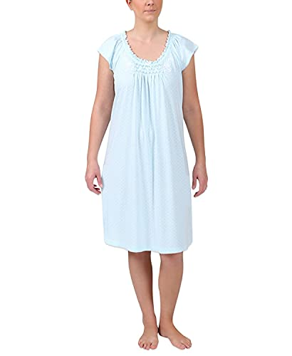 Miss Elaine Women's Short Sleeve Printed Short Nightgown (White Dots on Blue, Large)