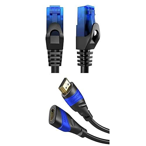 KabelDirekt Bundle, 0.25 m, Cable de red, Ethernet, cable LAN y Patch y cable de extensión HDMI de 2 m (HDMI 2.0a/b 2.0, 1.4a, 4K, 3D, HDR, ARC, Highspeed con Ethernet)