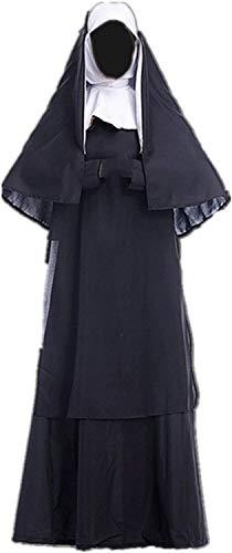 N\A ZT Cosplay Disfraz de Halloween Carnaval Ropa Iglesia Uniforme Vestido Monja (Color : M)