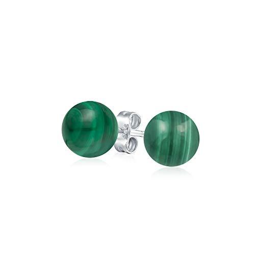 Einfache Edelstein Grünen Malachit Runde Kugel Ohrstecker Für Damen 925 Sterling Silber 6MM