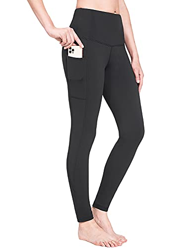 BALEAF Women's Fleece Lined Leggings Water Resistant High Waisted Warm Winter Pants Hiking Running Tights with Pockets Black L
