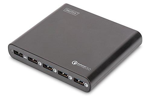 Preisvergleich Produktbild DIGITUS Universal Travel USB Charging Station / Reise Ladegerät,  80W,  5x USB A,  Quick Charge 3.0,  12 Notebook Tips,  3 Netzkabel (EU / US / UK),  schwarz