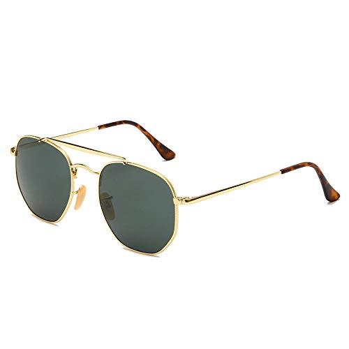 Gafas de sol cuadradas poligonales gafas de sol retro para hombres y mujeres con el mismo espejo-Con logo_Marco dorado: negro y gris