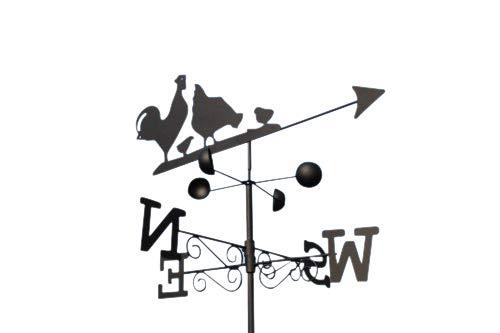 GardenMarketPlace Hens Wetterfahne aus Stahl, mit Erdspieß und Wandbefestigung