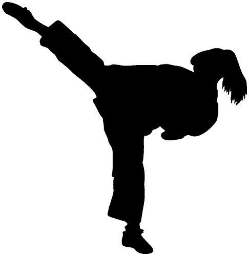 Samunshi® Aufkleber Karate Karatekämpferin in 10 Größen und 22 Farben (15x15cm schwarz)