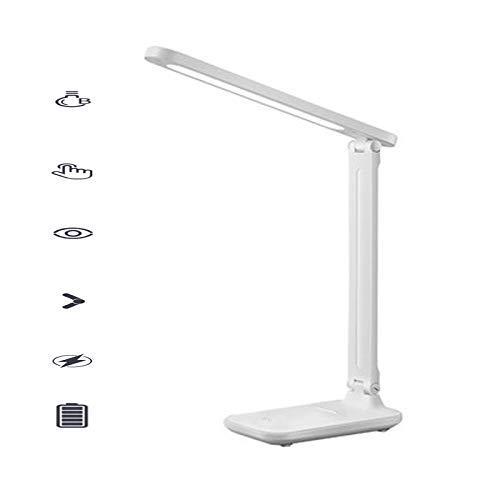 Rechargeable Desk Lamps Cordless, Eye Protection LED Table Lamps Dimmable Office Lamp with USB Charging Port 3 Lighting Brightness 7W White Adjustable Light for Reading Working(with Battery)
