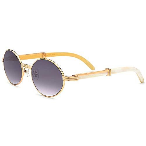 Faus Koco Retro Redondo Dorado Marco Completo Cuerno Material Gafas De Sol Lente Gris Puro Natural Hecho A Mano UV400 Protección