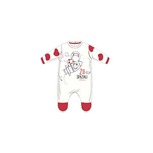Chicco Tutina con Apertura sul patello Pigiamino per Bambino e Neonato, Bianco e Rosso, 068 Unisex-Bimbi