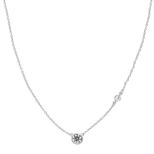 Silpada 'Marvel' Circular Cubic Zirconia Station Necklace in Sterling Silver, 16' + 2'