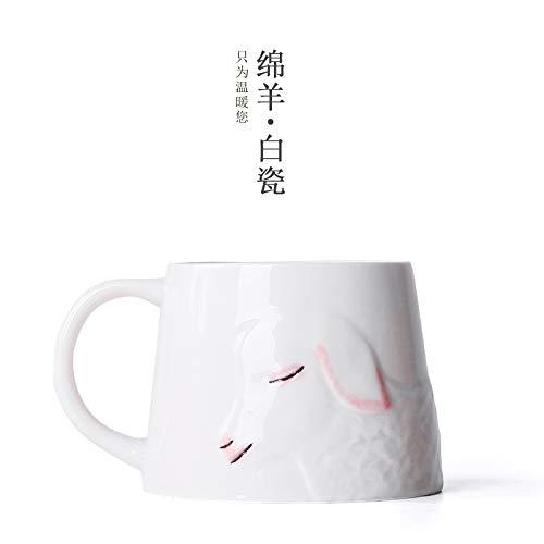 Winpavo Becher Kaffeetassen Tassen Moma-Rotwild Handgemaltes Schale Jingdezhen Keramisches Ausgangskreativer Becherpaare Schalengeschenk-Teetasse, Weißes Porzellan Der Schafe
