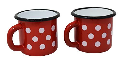 2 tazas de metal esmaltado rojo con lunares blancos – 250 ml
