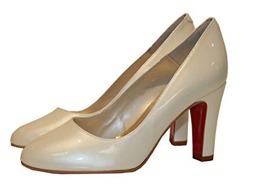 Fiarucci Zapatos de Novia Zapatos de Boda Peggy Ivory Barniz Piel Bridal...