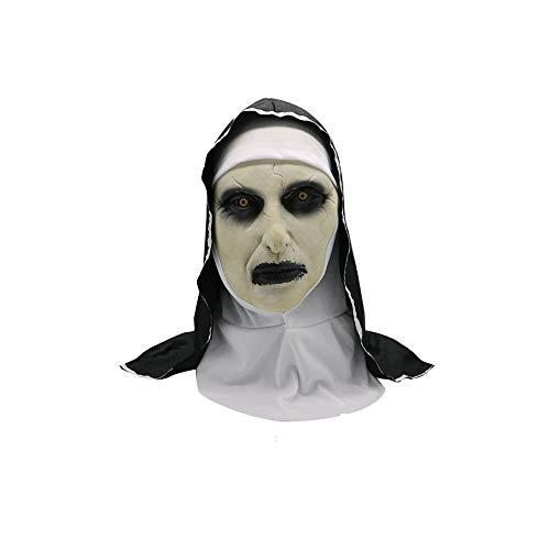CLHCilihu Nun masker, horror vrouwelijke geest masker latex tape hoofdband heks spook zwarte lippen Halloween masquerade rol spelen volwassen mannen en vrouwen hoofddeksels