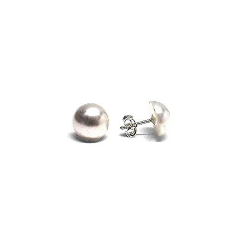 Pendientes plata Ley 925m media perla sintética 10mm. [AB1135]