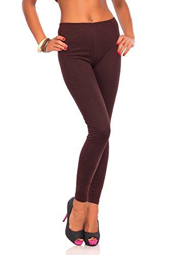 FUTURO FASHION - Damen Leggings aus Baumwolle - knöchellang - weich - Übergrößen - Braun - 40 Klassische Bundhöhe