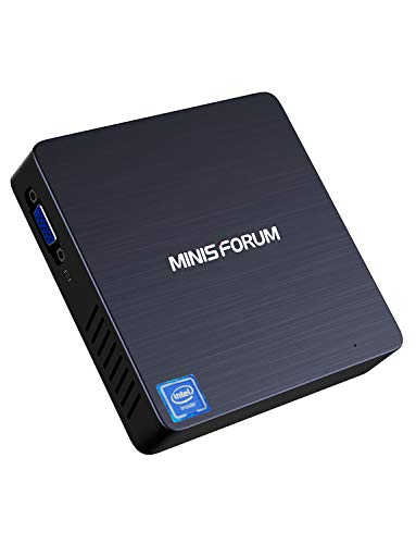 【New Version】 Mini PC Intel Celeron N3350(up to 2.4GHz) 4GB DDR4/ 64GB eMMC, Windows 10 Pro(64-bit) Fanless PC Mini, 2.4G/5G Dual WiFi, 4K HD, HDMI/VGA Ports, Gigabit Ethernet, BT 4.2, 3X USB3.0