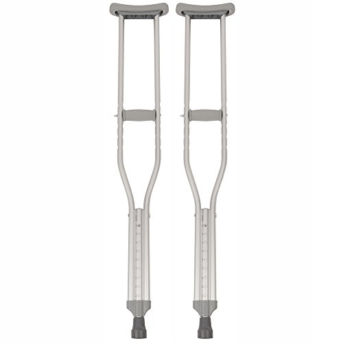 PCP Push Button Adjustable Height Crutches, Chrome, Adult Regular Size
