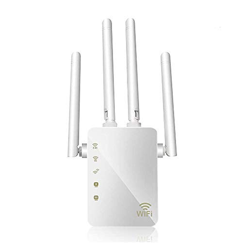 WLAN Repeater, 1200 Mbit/s WiFi Extender Booster, Access Point/WLAN-Router mit 4 externen Antennen, 2 Ethernet-Ports, 5-GHz-Dual-Band-Semaphor-Booster