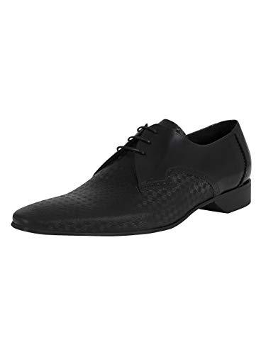 Jeffery West de los Hombres Zapatos Derby de Cuero Brogue, Negro