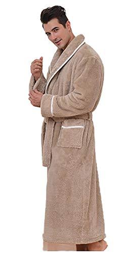 BLACK ELL Albornoz de Franela, camisón de otoño e Invierno Engrosado-Hombre B_XL,Bata De Estar por Casa Invierno,SúPer Suave Bata Larga Ropa De Casa para