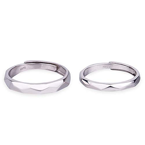 Cenliva 925 Silver Rings, Wedding Rings His and Hers Rhombus Surface Can Engraved The Letter Inside The Ring