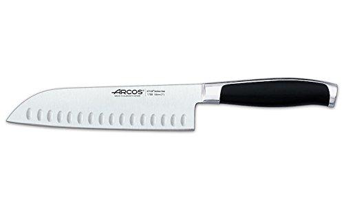 Arcos Serie Kyoto - Santoku Messer Messer Asiatischer Art- Klinge aus Nitrum geschmiedetem Edelstahl 185 mm - HandGriff Polyoxymethilen (POM) Farbe Schwarz