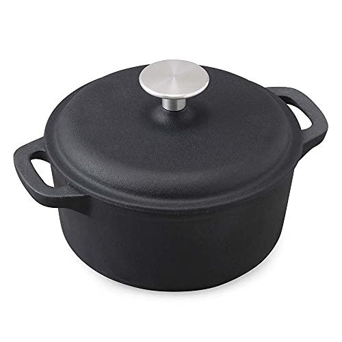 【1台で6調理法】アイリスオーヤマ ホーロー鍋 無水鍋 両手鍋 鋳物 ホーロー 鋳鉄鍋 17cm 鋳物ホーロー鍋 無加水調理 オーブン調理可 おしゃれ 汚れが付きにくい 丈夫 ブラック