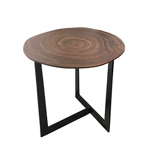 Tavolino da salotto industriale rotondo con telaio in ferro per soggiorno, camera da letto, tavolo da tè (colore noce)
