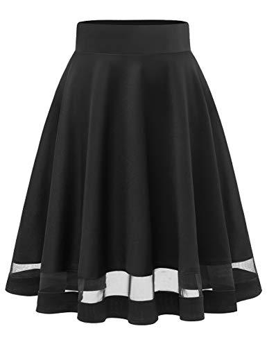 MuaDress 9003 Damen Mädchen Basic Kurz Rock Solide Glocken dehnbaren informell Röcke Schwarz Durchschauen S
