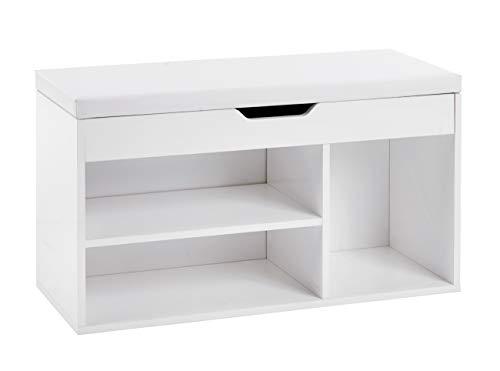 ts-ideen Schuhbank Schuhschrank Bad Flur Diele Sitztruhe Weiß Sitzbank Gepolstert Kommode 46,5 x 80 cm