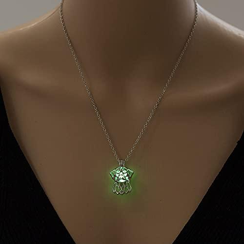 YQMR Collares Luminoso Colgante,Señoras Noche Brillante Verde Colgante Moda Vintage Collar De...