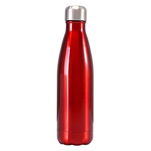 Fesjoy - Botella térmica de agua de acero inoxidable, 500 ml para mantener caliente y frío, para deportes, al aire libre, gimnasio, yoga, viaje (rojo brillante)