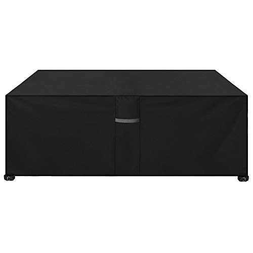Dokon Garden Furniture Cover with Air Vent, Waterproof, Windproof, Anti-UV, Heavy Duty Rip Proof 600D Oxford Fabric Large Patio Set Cover, Garden Table Cover, Rectangular (242 x 162 x 100cm) - Black
