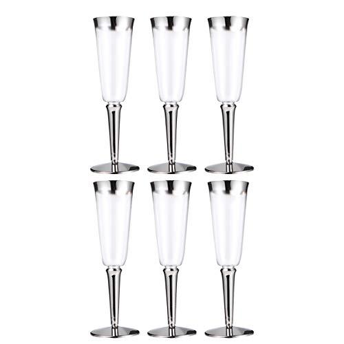 Hemoton 6 Piezas Vasos de Vino de Plástico Desechables Copas de Vino Tinto Fiesta de Plástico Copa de Vino Copas de Champán Tazas de Bebida para Cumpleaños Fiesta de Bodas 160 Ml