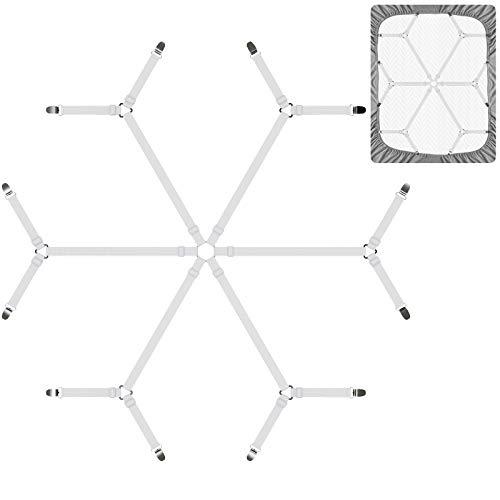 DORPU Sheet Straps Adjustable Elastic Fastener Bed Sheet Holder Band Harmless Buckle Clips Design 6 in 1 Belt with 12 Clips