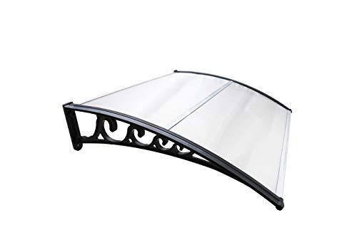 Hengda Auvent pour Porte Avant 120 x 100 cm auvent voûté en Polycarbonate Transparent auvent 5 mm, Support PP, Toit de Porte pour Protection Solaire extérieure Protection Contre la Pluie