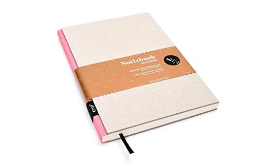 Notizbuch A5 hardcover | handmade in Germany | Skizzenbuch A5 blanko | Journal A5 | Rosa tyyp | nachhaltige Notizbücher | Öko-look Natur-Design