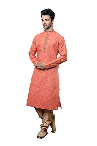Indian Designer Partywear Traditional Ethnic Rust Mens Wear Kurta Pajama.