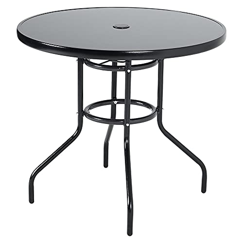 Warmiehomy Patio Table Garden Backyard Coffee Table 80x80cm Round Dining Table Outdoor Furniture with the Umbrella Stand Hole (Black, Φ80cm)