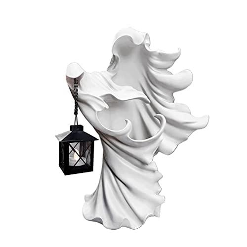 HellS Messenger con Lanterna,Statua Del Fantasma di Halloween Che Tiene la Statua in Resina Della Lanterna,Rendi Il Tuo Giardino Pieno di Misteri,Lanterna Decorazione Strega