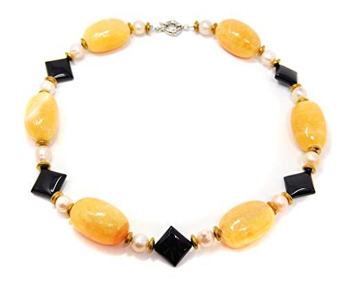 Halsschmuck Kette Collier Honigcalcit-Kette großen Nuggets Zwischenperlen aus Perlen, Onyx und Hämatit