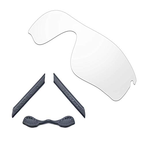 HKUCO For Oakley Radarlock Path Transparent Polarized Replacement Lenses And Grey Earsocks Rubber Kit