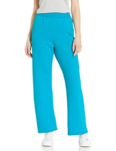 Hanes Women's EcoSmart Petite Open Bottom Leg Sweatpants, Bold Blue Heather, Medium
